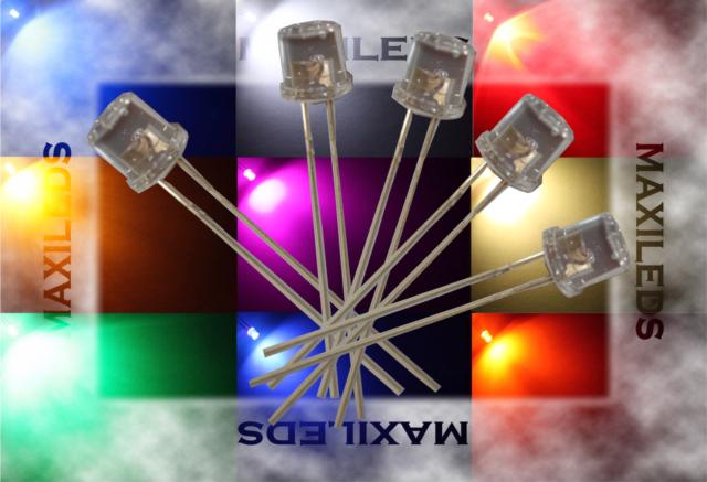 10x 5mm LED plat Flattop très lumineux diode résistance 5mm
