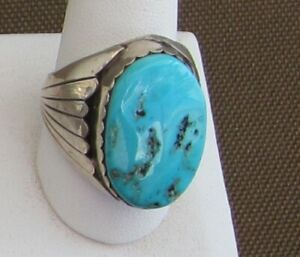 Large-and-impressive-Blue-Turquoise-Cab-Set-in-Sterling-Size-10-5-8-Men-039-s-Ring-2