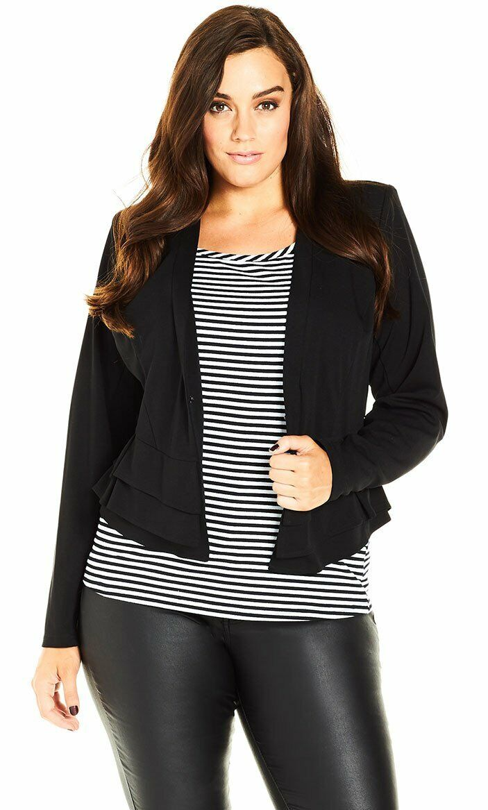 Ex EVANS City Chic Black Jersey Jacket with ruffle side SIZE 22 & 24, RRP