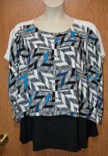Womens Pretty Geometric Alfani Sleeveless Caped Shirt Size 18W NEW NWT