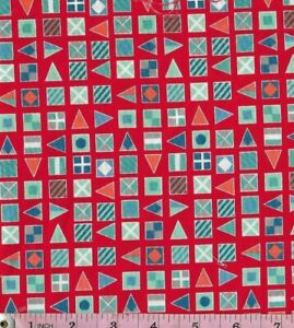 PATCHWORK//CRAFT FABRIC 100/% COTTON MAKOWER NAUTICAL FLAGS ON RED