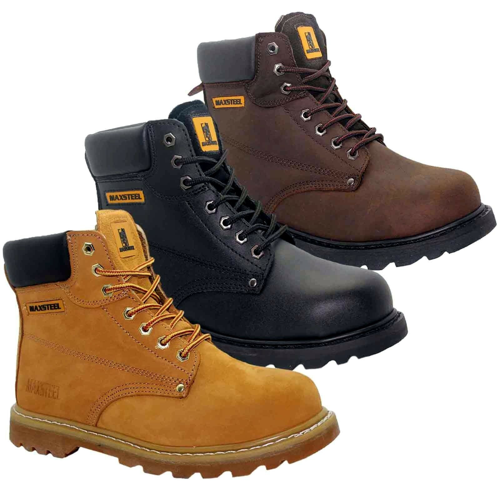 MENS NEW GOOD YEAR LEATHER LACE UP SAFETY STEEL TOE CAP ANKLE WORK BOOTS SHOES