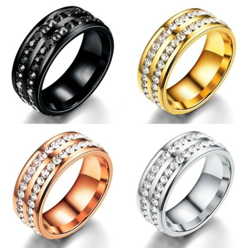 Sz5-12 Men//Women CZ Couple Stainless Steel Wedding Ring Titanium Engagement Band