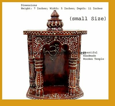 175 Wooden Hand Painted Hindu Temple Mandir Pooja Ghar Mandapam For Worship Art