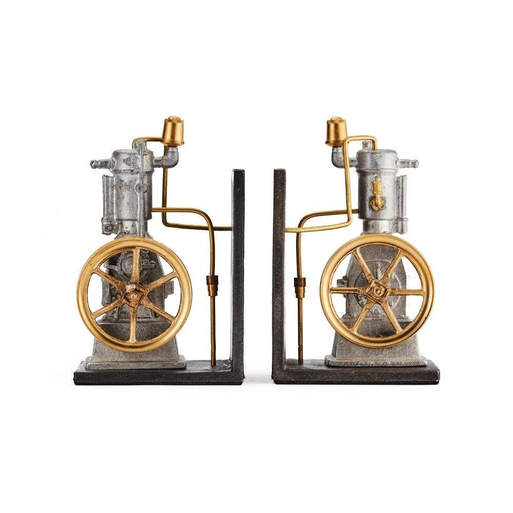 Pendulux's Grünical Engine Bookends One Lunger Steam Engine Desk Decor