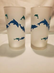 Frosted Swimming Dophin Drinking Glasses Set Of 2 Blue Turquoise Ocean Theme