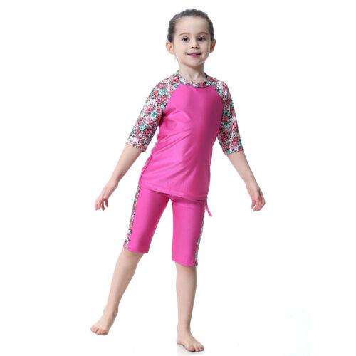 Kids Girls Muslim Tops//Pant//Cap Swimsuit Modest Islamic Beach Swimming Swimwear
