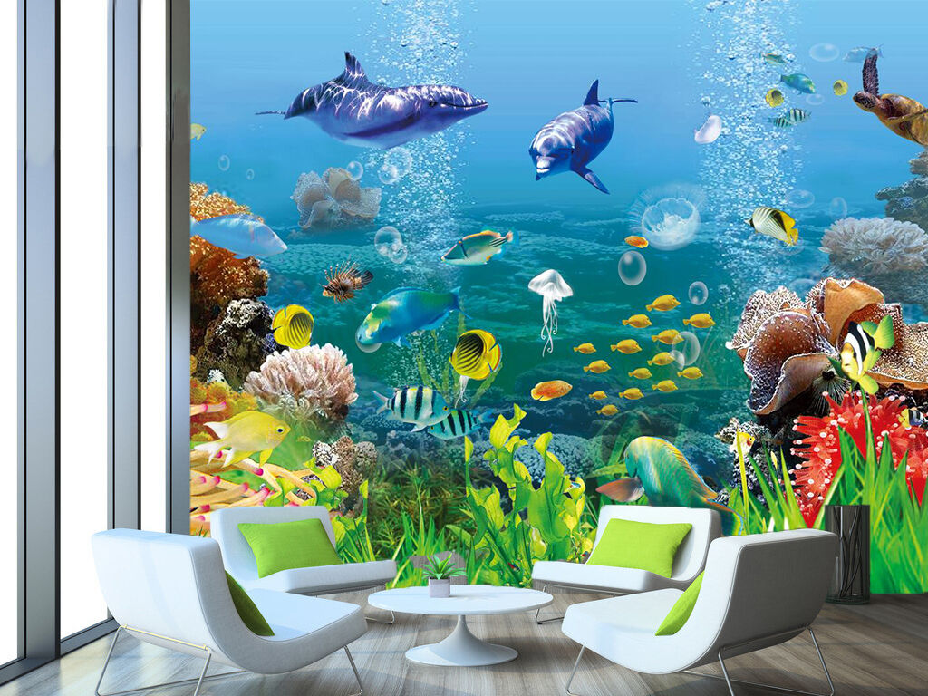 3D Jede Menge Fisch  Fototapeten Wandbild Fototapete Bild Tapete Familie Kinder