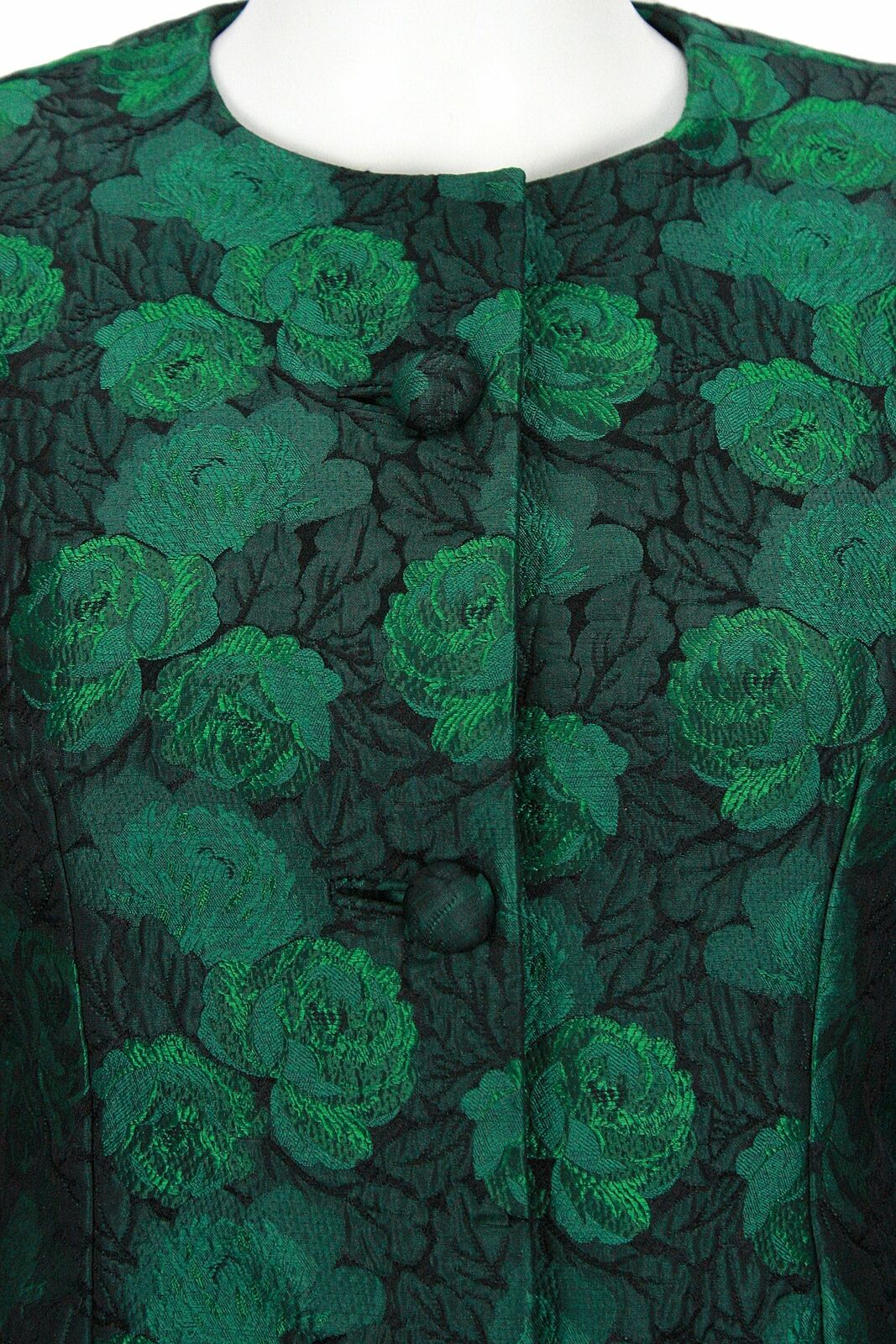 ARNOLD SCAASI 1980s Dark Green Floral Brocade Gow… - image 4