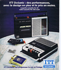 PUBLICITE ADVERTISING 064 1976 ITT OCEANIC magnéto cassette SL58 radio RC500ALW