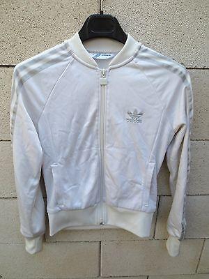 Veste ADIDAS rétro vintage femme girl blanc argent 38 tracktop jacket brillant | eBay