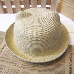 386edff9557ab7 Baby Boy Girl Straw Hat Cat Ears Bowler Derby Hat Cloche Cap Beach ...