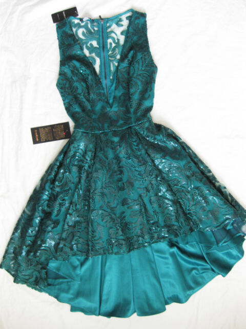 BEBE DEEP V EMBELLISHED LACE SEQUIN HI LO DRESS NWT NEW $279 XSMALL XS SMALL S 4