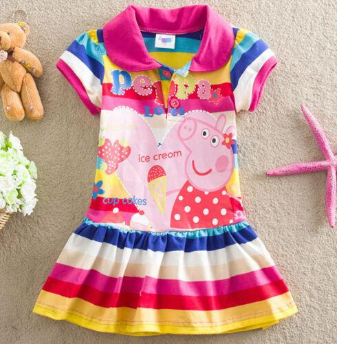 NEU Peppa Pig Mädchen Kinder Sommer Top Tunika Kleid Regenbogen Shirt Gr. 92-116