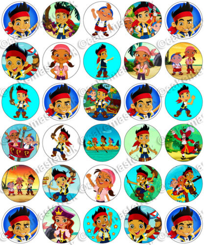 Edible Rice Wafer Paper Cupcake Toppers 30 x Jake And The Never Land Pirates