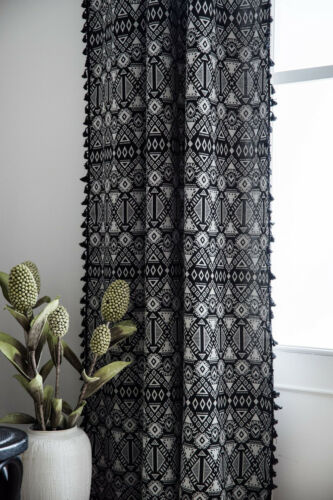 Black Curtain For Living Room Bohemian Vintage Tassel Curtains Window Drapes 1pc
