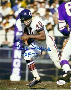 Gale-Sayers-Chicago-Bears-Autographed-8x10-Photo-With-HOF-77-Inscription-JSA-COA