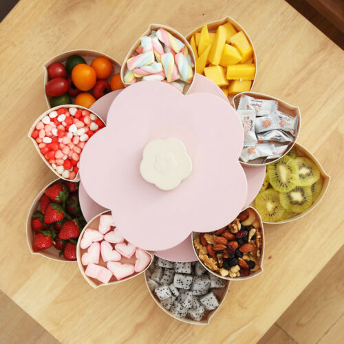 Crective Flower Rotating Candy Box 2 Layer Dried Fruit Plate Snack Serving Tray