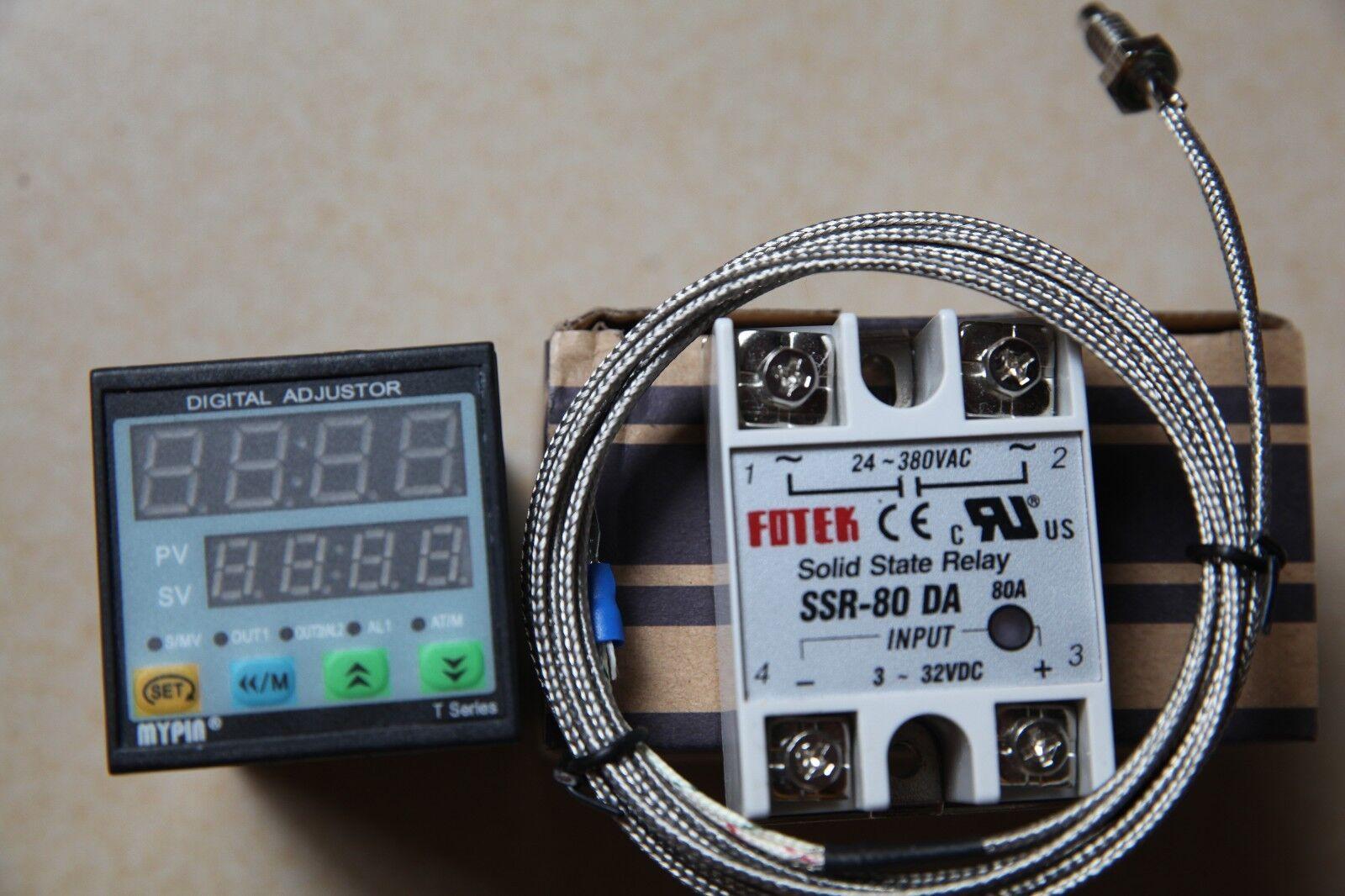 F C Manual  Auto-tuning PID Temperature Controller TD4-SSR +K sensor+80A DA SSR
