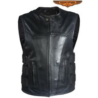 Men's Concealed Carry Top Grade Premium Leather Vest With Straps - Free Shipping