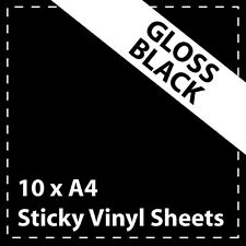 10 x A4 Gloss Black Sticky Vinyl Sheets - Craft Robo, CriCut & Crafts