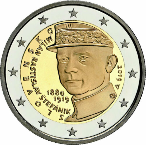 "2019 Slovakia 2 Euro Uncirculated UNC Coin /""Milan Rastislav Stefanik 100 Years/"""