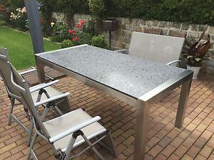 Gartentisch Outdoor Tisch Terrassentisch Granit Naturstein Geburstet
