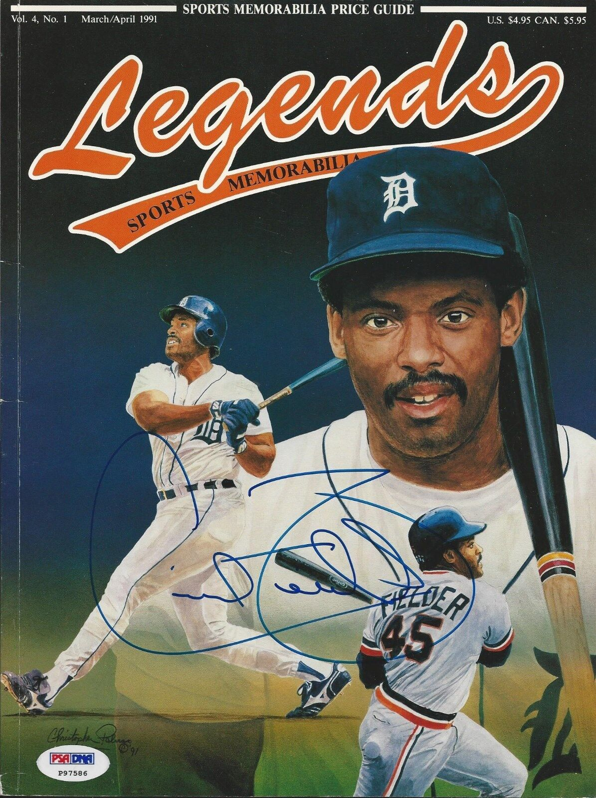Cecil Fielder Signed Legends Magazine PSA/DNA COA # P97586