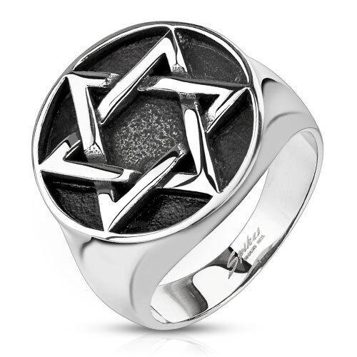 Edelstahl Ring Davidstern Massiv Biker Gothic silber Hexagramm Medaillon Siegel