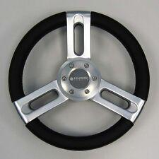 New OEM Gussi Boat Steering Wheel M850 Black Urethane Rim Brushed Spoke