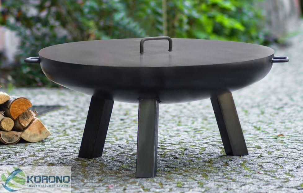 Korono pebetero de acero con tapa de acero, 100cm de diámetro, Handmade