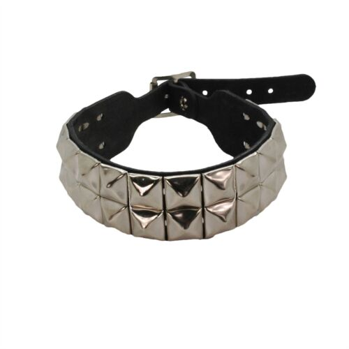 Bullet 69 Black 2 Row Pyramid Stud Leather Choker Neckband