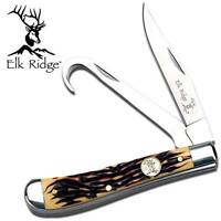 Elk Ridge 2 Blade Folding Pocket Knife Large Bone Trapper Gut Hook Stag 436i