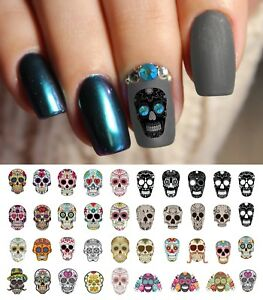 Sugar Skull Nail Art Day Of Dead Decals Set 1 Featured In Rachael