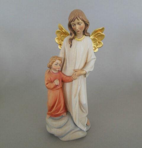 Schutzengel mit Kind ca. 15,5 cm hoch,Holz geschnitzt bemalt,Engel Taufgeschenk