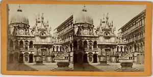 Stéréo, Italie, Venise, palais des Doges, cour intérieure Vintage stereo card,