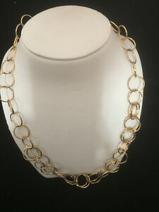CANADIAN-STERLING-SILVER-GOLD-PLATED-CIRCLES-NECKLACE