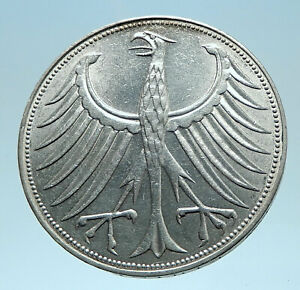 1970-D-GERMANY-Large-5-Mark-Silver-Vintage-Genuine-Eagle-German-Coin-i77934