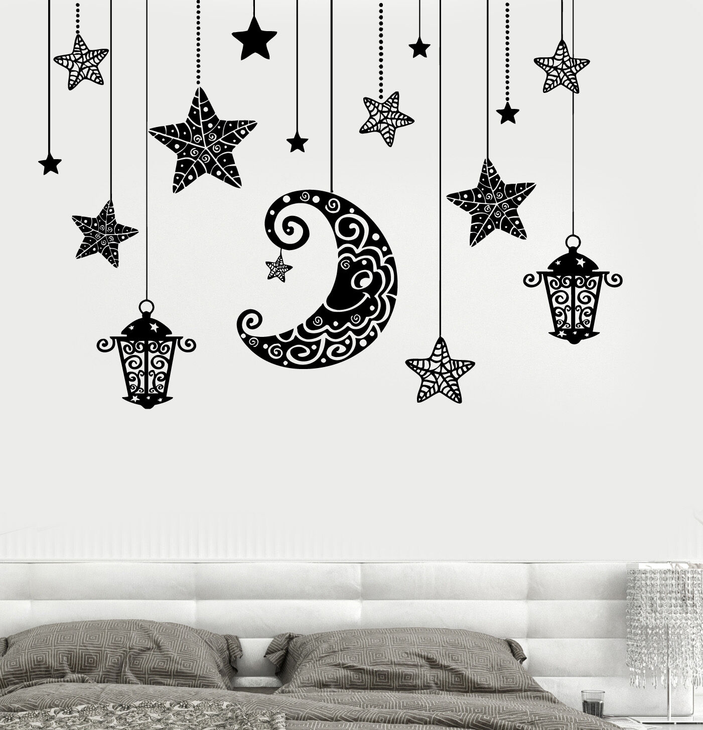 Wand Decal Moon Stars Light Romanic Mural For Bettroom Vinyl Decal (z3190)