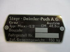 Typenschild Steyr Puch AG Schild id-plate Maxi L 2 Gang L2  Mofa s26