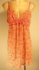 Pink Print (Oscar de la Renta) Nightie Babydoll Nightgown Lingerie Negligee Med.