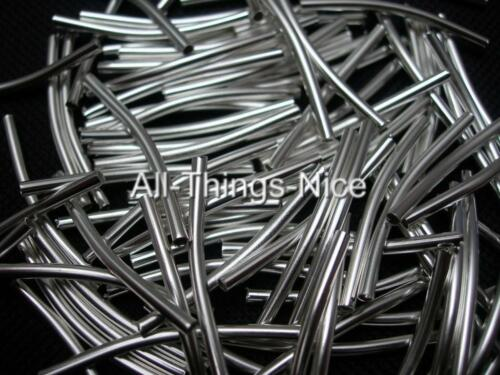 Silver Plated 30mm CURVE TUBE Spacer Beads Craft Jewellery Making Findings 100