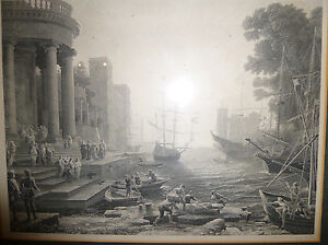 Antique-CLAUDE-LORRAIN-Engraving-034-Embarkation-St-Ursula-034-Master-Artist-Veduta