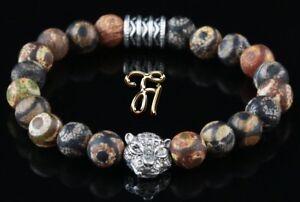 Tibet-Achat-braun-silberfarbener-Tigerkopf-Armband-Bracelet-Perlenarmband-8mm