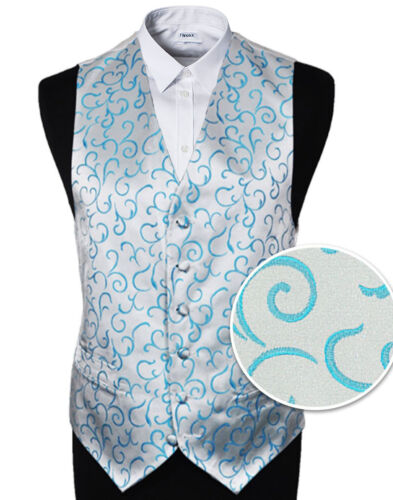 "SALE Size 34/"" Men/'s Aqua Scroll Wedding Party Waistcoat 58/"" choice Tie"