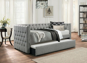 Image Is Loading Grey Tufted Sofa Twin Bed Dorm Room Daybed