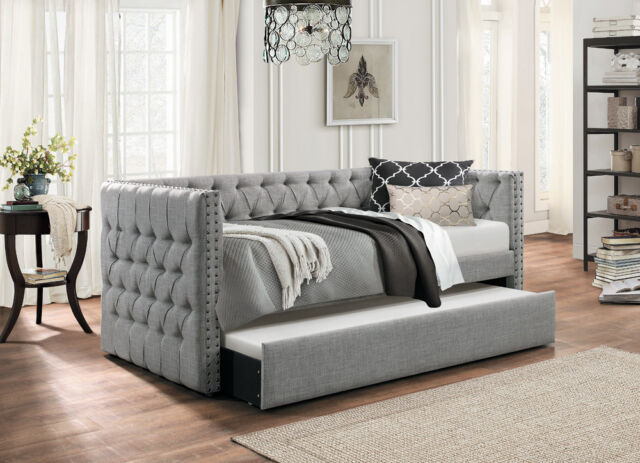 Amazing Grey Tufted Sofa Twin Bed Dorm Room Daybed With Trundle Bedroom Furniture Short Links Chair Design For Home Short Linksinfo