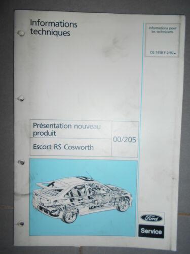 1992 CG7458 documentation atelier Escort RS Cosworth Ford ESCORT