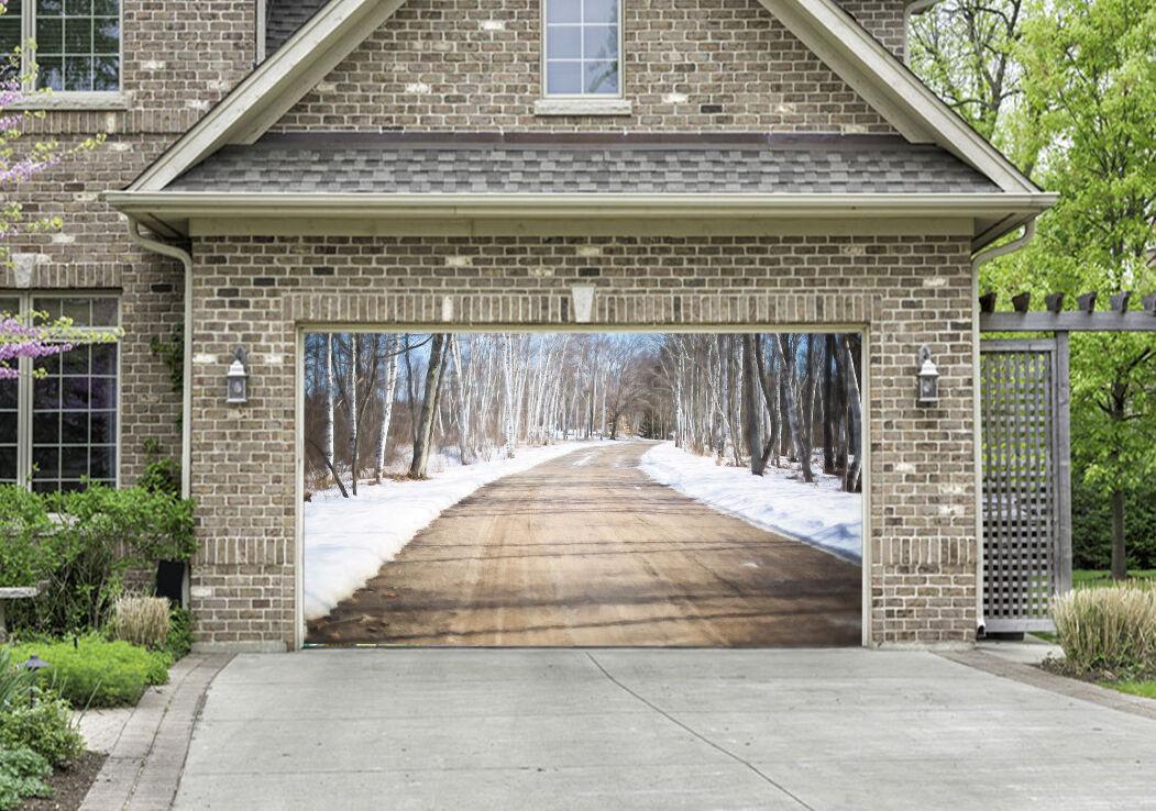 3D Road Bare Trees Garage Door Murals Wall Print Decal Wall Deco AJ WALLPAPER IE