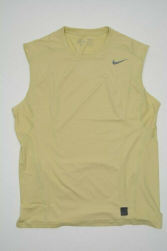 NEW Nike Pro Dri-Fit Fitted Mens Gold Sleeveless Training Football Gym Shirt D5